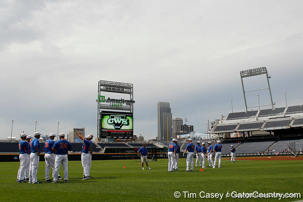 Florida players stretch before practicing during the Men's College World Series practice day on Friday, June 17, 2011 at TD Ameritrade Park in Omaha, Neb. / Gator Country photo by Tim Casey
