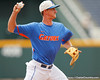 Florida freshman third baseman Zack Powers throws to first base during the Men's College World Series practice day on Friday, June 17, 2011 at TD Ameritrade Park in Omaha, Neb. / Gator Country photo by Tim Casey