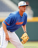 Florida freshman third baseman Zack Powers fields a ground ball during the Men's College World Series practice day on Friday, June 17, 2011 at TD Ameritrade Park in Omaha, Neb. / Gator Country photo by Tim Casey