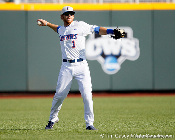 Florida senior Bryson Smith throws the ball during the Gators' game against the Texas Longhorns in the College World Series on Saturday, June 18, 2011 at TD Ameritrade Park in Omaha, Neb. / Gator Country photo by Tim Casey