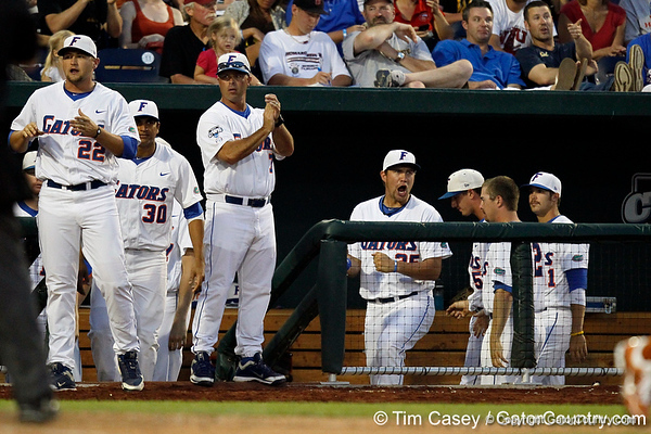 Florida players cheer from the dugout during the Gators' 8-4 win against the Texas Longhorns in the College World Series on Saturday, June 18, 2011 at TD Ameritrade Park in Omaha, Neb. / Gator Country photo by Tim Casey