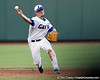Florida sophomore shortstop Nolan Fontana throws to first base during the Gators' 8-4 win against the Texas Longhorns in the College World Series on Saturday, June 18, 2011 at TD Ameritrade Park in Omaha, Neb. / Gator Country photo by Tim Casey