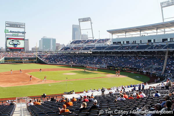 Texas players warm up before the Gators' game against the Texas Longhorns in the College World Series on Saturday, June 18, 2011 at TD Ameritrade Park in Omaha, Neb. / Gator Country photo by Tim Casey