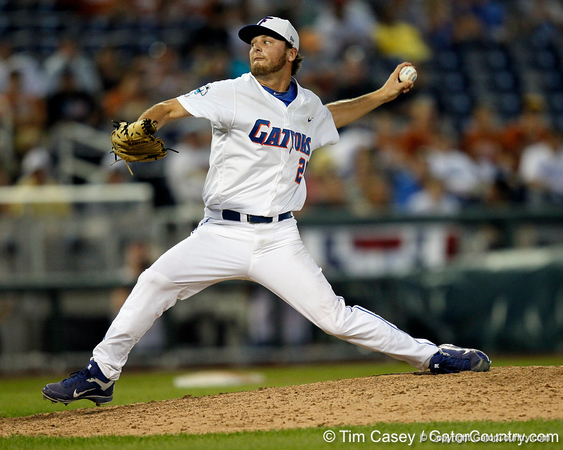 Florida junior pitcher Nick Maronde winds up during the Gators' 8-4 win against the Texas Longhorns in the College World Series on Saturday, June 18, 2011 at TD Ameritrade Park in Omaha, Neb. / Gator Country photo by Tim Casey