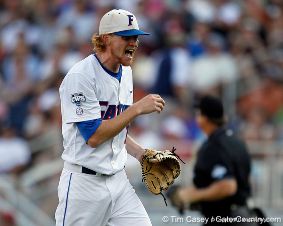 Florida sophomore pitcher Hudson Randall reacts after recording an out during the Gators' game against the Texas Longhorns in the College World Series on Saturday, June 18, 2011 at TD Ameritrade Park in Omaha, Neb. / Gator Country photo by Tim Casey