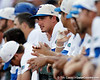 Florida freshman third baseman Zack Powers watches from the dugout during the Gators' game against the Texas Longhorns in the College World Series on Saturday, June 18, 2011 at TD Ameritrade Park in Omaha, Neb. / Gator Country photo by Tim Casey