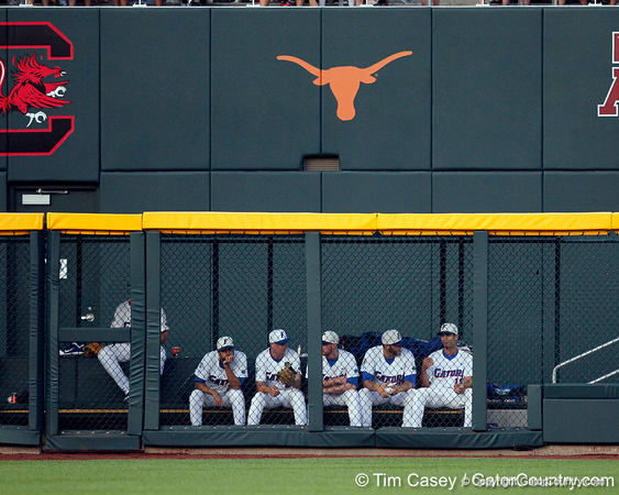 Florida players watch from the bullpen during the Gators' 8-4 win against the Texas Longhorns in the College World Series on Saturday, June 18, 2011 at TD Ameritrade Park in Omaha, Neb. / Gator Country photo by Tim Casey