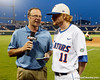 ESPN reporter Kyle Peterson talks with sophomore pitcher Hudson Randall after the Gators' 8-4 win against the Texas Longhorns in the College World Series on Saturday, June 18, 2011 at TD Ameritrade Park in Omaha, Neb. / Gator Country photo by Tim Casey