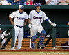 Florida head coach Kevin O'Sullivan and sophomore catcher Mike Zunino watch from the dugout during the Gators' 8-4 win against the Texas Longhorns in the College World Series on Saturday, June 18, 2011 at TD Ameritrade Park in Omaha, Neb. / Gator Country photo by Tim Casey
