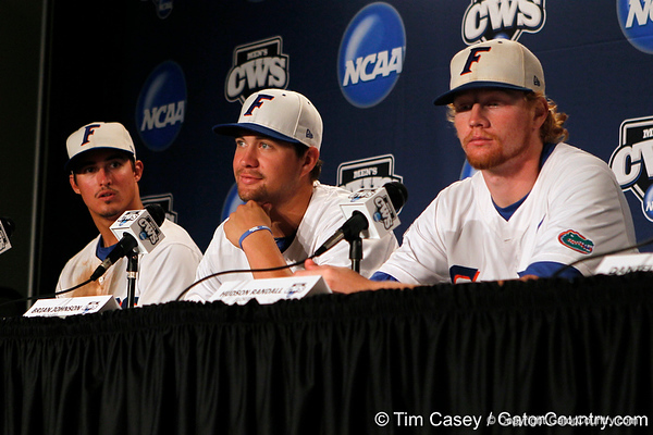 Cody Dent, Brian Johnson and Hudson Randall talk to reporters after the Gators' 8-4 win against the Texas Longhorns in the College World Series on Saturday, June 18, 2011 at TD Ameritrade Park in Omaha, Neb. / Gator Country photo by Tim Casey