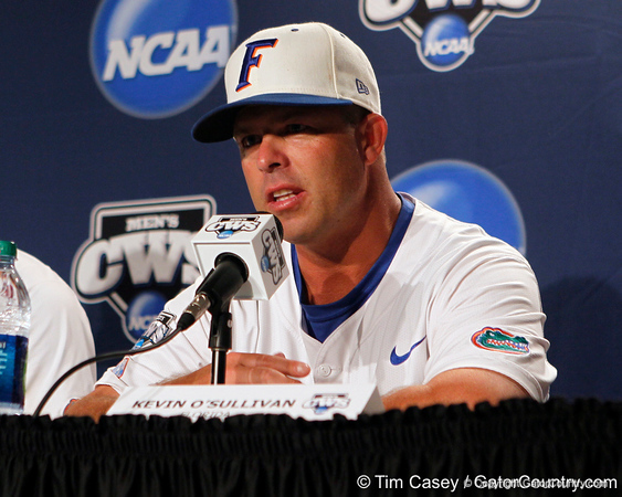 Florida head coach Kevin O'Sullivan talks to reporters after the Gators' 8-4 win against the Texas Longhorns in the College World Series on Saturday, June 18, 2011 at TD Ameritrade Park in Omaha, Neb. / Gator Country photo by Tim Casey