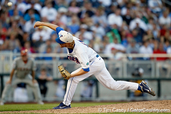 Florida sophomore pitcher Hudson Randall follows through on a pitch during the Gators' 8-4 win against the Texas Longhorns in the College World Series on Saturday, June 18, 2011 at TD Ameritrade Park in Omaha, Neb. / Gator Country photo by Tim Casey