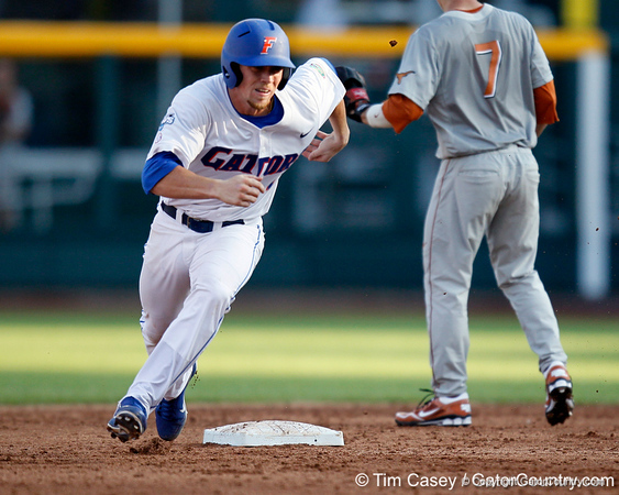 Florida sophomore shortstop Nolan Fontana runs past second base during the Gators' game against the Texas Longhorns in the College World Series on Saturday, June 18, 2011 at TD Ameritrade Park in Omaha, Neb. / Gator Country photo by Tim Casey