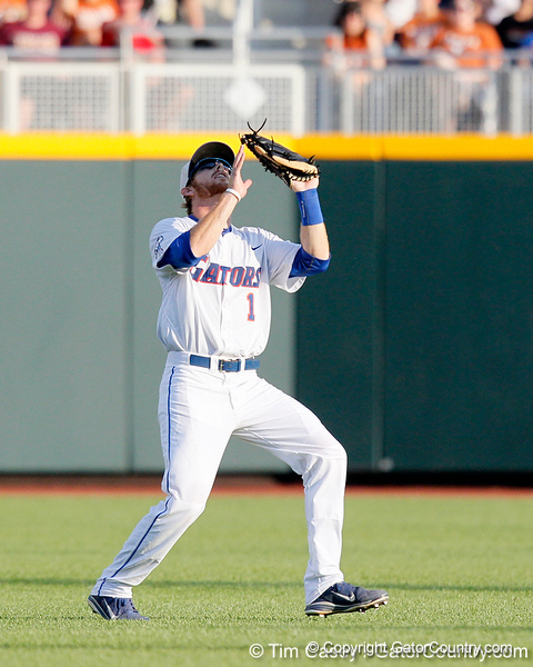 Florida senior Bryson Smith gets under a fly ball during the Gators' game against the Texas Longhorns in the College World Series on Saturday, June 18, 2011 at TD Ameritrade Park in Omaha, Neb. / Gator Country photo by Tim Casey