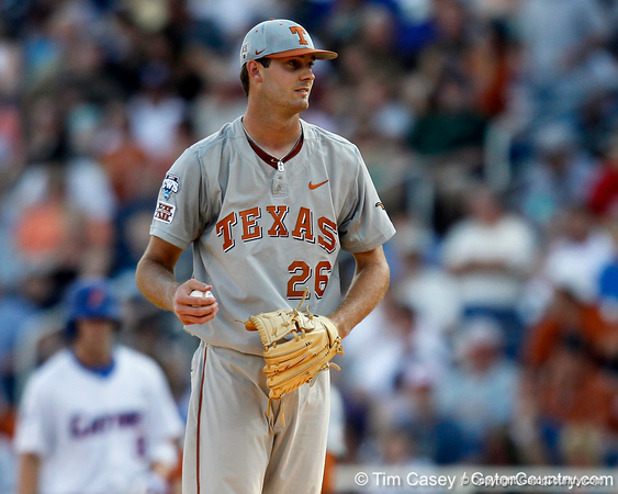 Texas pitcher Taylor Jungmann holds the ball during the Gators' game against the Texas Longhorns in the College World Series on Saturday, June 18, 2011 at TD Ameritrade Park in Omaha, Neb. / Gator Country photo by Tim Casey