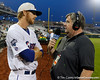 Florida senior Bryson Smith does a radio interview after the Gators' 8-4 win against the Texas Longhorns in the College World Series on Saturday, June 18, 2011 at TD Ameritrade Park in Omaha, Neb. / Gator Country photo by Tim Casey