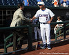 ESPN analyst Nomar Garciaparra talks with Florida baseball head coach Kevin O'Sullivan before the Gators' game against the Texas Longhorns in the College World Series on Saturday, June 18, 2011 at TD Ameritrade Park in Omaha, Neb. / Gator Country photo by Tim Casey
