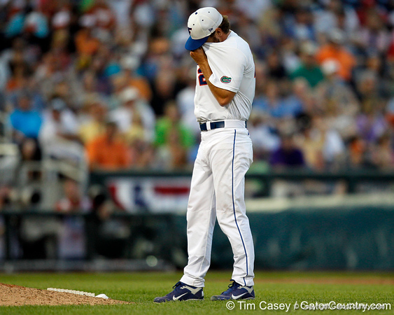 Florida junior pitcher Nick Maronde wipes his face during the Gators' 8-4 win against the Texas Longhorns in the College World Series on Saturday, June 18, 2011 at TD Ameritrade Park in Omaha, Neb. / Gator Country photo by Tim Casey