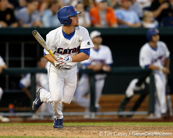 Florida sophomore shortstop Nolan Fontana hits a fly ball during the Gators' 8-4 win against the Texas Longhorns in the College World Series on Saturday, June 18, 2011 at TD Ameritrade Park in Omaha, Neb. / Gator Country photo by Tim Casey