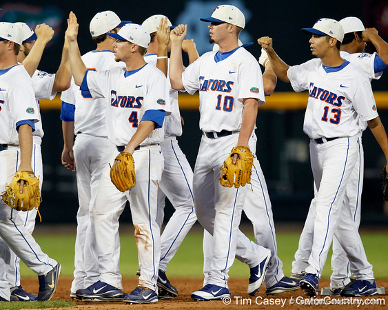 Florida players celebrate after the Gators' 8-4 win against the Texas Longhorns in the College World Series on Saturday, June 18, 2011 at TD Ameritrade Park in Omaha, Neb. / Gator Country photo by Tim Casey