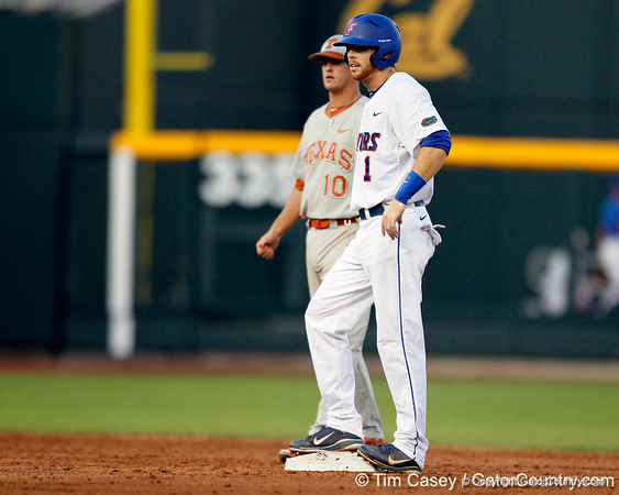 Florida senior Bryson Smith stands on second base during the Gators' 8-4 win against the Texas Longhorns in the College World Series on Saturday, June 18, 2011 at TD Ameritrade Park in Omaha, Neb. / Gator Country photo by Tim Casey