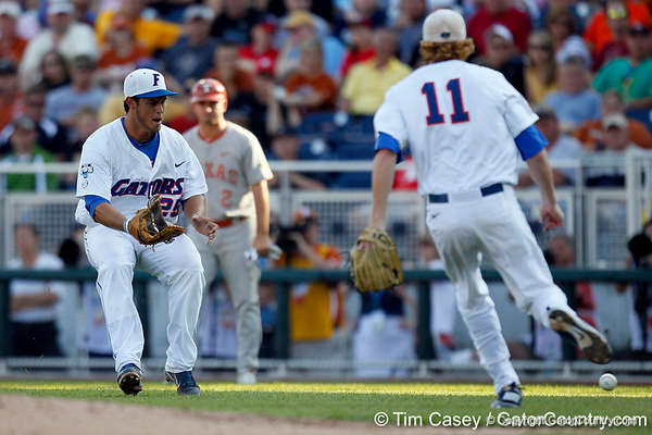 Florida junior Preston Tucker chases a ball during the Gators' game against the Texas Longhorns in the College World Series on Saturday, June 18, 2011 at TD Ameritrade Park in Omaha, Neb. / Gator Country photo by Tim Casey