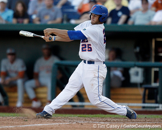 Florida junior Preston Tucker swings at a pitch during the Gators' game against the Texas Longhorns in the College World Series on Saturday, June 18, 2011 at TD Ameritrade Park in Omaha, Neb. / Gator Country photo by Tim Casey