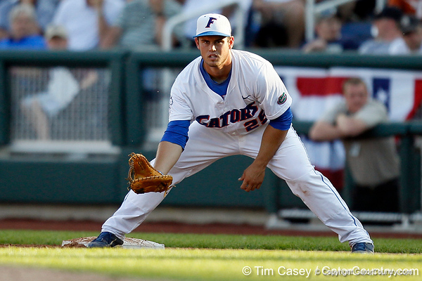 Florida junior Preston Tucker awaits a throw during the Gators' game against the Texas Longhorns in the College World Series on Saturday, June 18, 2011 at TD Ameritrade Park in Omaha, Neb. / Gator Country photo by Tim Casey