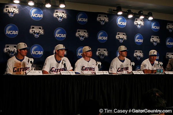 Cody Dent, Brian Johnson, Hudson Randall, Daniel Pigott and Kevin O'Sullivan participate in a press conference after the Gators' 8-4 win against the Texas Longhorns in the College World Series on Saturday, June 18, 2011 at TD Ameritrade Park in Omaha, Neb. / Gator Country photo by Tim Casey