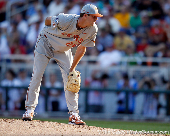 Texas pitcher Taylor Jungmann checks for a sign during the Gators' game against the Texas Longhorns in the College World Series on Saturday, June 18, 2011 at TD Ameritrade Park in Omaha, Neb. / Gator Country photo by Tim Casey