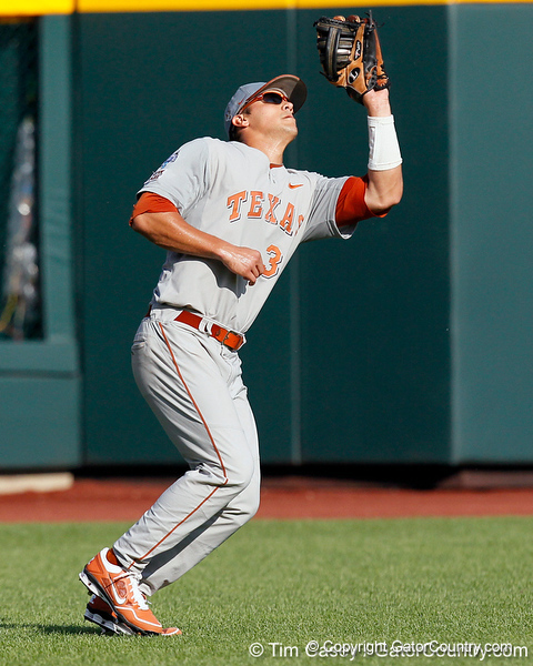 Texas left fielder Jonathan Walsh catches a fly ball during the Gators' game against the Texas Longhorns in the College World Series on Saturday, June 18, 2011 at TD Ameritrade Park in Omaha, Neb. / Gator Country photo by Tim Casey