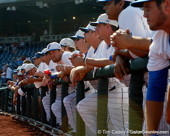 Florida sophomore Brian Johnson watches from the dugout before the Gators' game against the Texas Longhorns in the College World Series on Saturday, June 18, 2011 at TD Ameritrade Park in Omaha, Neb. / Gator Country photo by Tim Casey