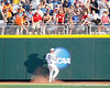 Florida senior Bryson Smith braces himself after catching a deep fly ball during the Gators' game against the Texas Longhorns in the College World Series on Saturday, June 18, 2011 at TD Ameritrade Park in Omaha, Neb. / Gator Country photo by Tim Casey