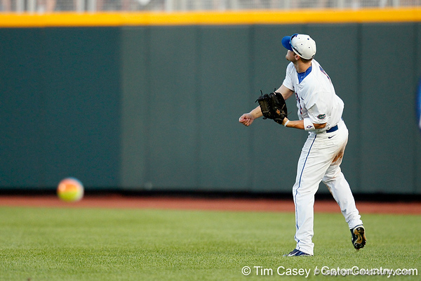 Florida junior outfielder Daniel Pigott warms up during the Gators' 8-4 win against the Texas Longhorns in the College World Series on Saturday, June 18, 2011 at TD Ameritrade Park in Omaha, Neb. / Gator Country photo by Tim Casey