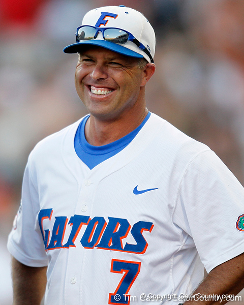 Florida baseball head coach Kevin O'Sullivan laughs during the Gators' game against the Texas Longhorns in the College World Series on Saturday, June 18, 2011 at TD Ameritrade Park in Omaha, Neb. / Gator Country photo by Tim Casey