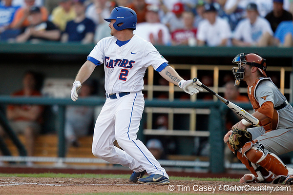 Florida senior Josh Adams grounds out to first base during the Gators' game against the Texas Longhorns in the College World Series on Saturday, June 18, 2011 at TD Ameritrade Park in Omaha, Neb. / Gator Country photo by Tim Casey