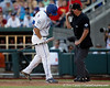 Florida sophomore catcher Mike Zunino strikes out during the Gators' game against the Texas Longhorns in the College World Series on Saturday, June 18, 2011 at TD Ameritrade Park in Omaha, Neb. / Gator Country photo by Tim Casey