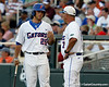 Florida junior Preston Tucker talks with head coach Kevin O'Sullivan during the Gators' game against the Texas Longhorns in the College World Series on Saturday, June 18, 2011 at TD Ameritrade Park in Omaha, Neb. / Gator Country photo by Tim Casey