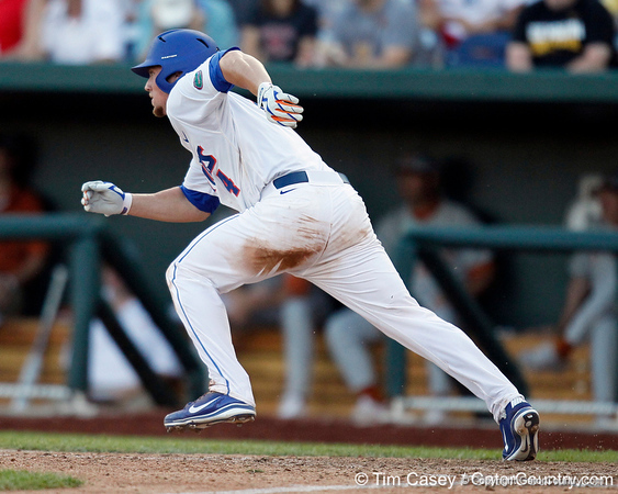 Florida sophomore shortstop Nolan Fontana runs to first base during the Gators' game against the Texas Longhorns in the College World Series on Saturday, June 18, 2011 at TD Ameritrade Park in Omaha, Neb. / Gator Country photo by Tim Casey