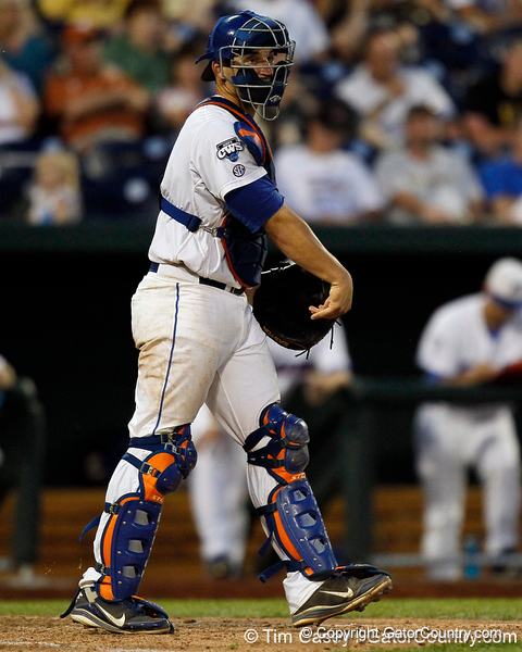 Florida sophomore catcher Mike Zunino throws the ball during the Gators' 8-4 win against the Texas Longhorns in the College World Series on Saturday, June 18, 2011 at TD Ameritrade Park in Omaha, Neb. / Gator Country photo by Tim Casey