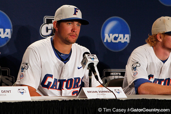 Florida sophomore Brian Johnson speaks to reporters after the Gators' 8-4 win against the Texas Longhorns in the College World Series on Saturday, June 18, 2011 at TD Ameritrade Park in Omaha, Neb. / Gator Country photo by Tim Casey