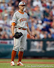 Texas pitcher Christian Summers reacts after a play during the Gators' 8-4 win against the Texas Longhorns in the College World Series on Saturday, June 18, 2011 at TD Ameritrade Park in Omaha, Neb. / Gator Country photo by Tim Casey