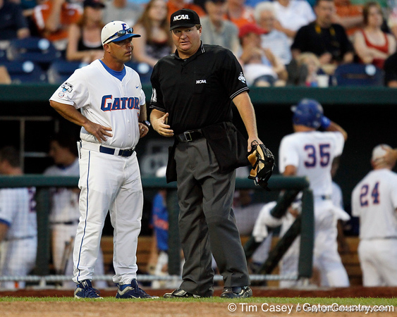 Florida baseball head coach Kevin O'Sullivan questions a ruling during the Gators' 8-4 win against the Texas Longhorns in the College World Series on Saturday, June 18, 2011 at TD Ameritrade Park in Omaha, Neb. / Gator Country photo by Tim Casey