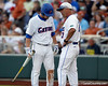 Florida sophomore shortstop Nolan Fontana talks with head coach Kevin O'Sullivan during the Gators' game against the Texas Longhorns in the College World Series on Saturday, June 18, 2011 at TD Ameritrade Park in Omaha, Neb. / Gator Country photo by Tim Casey