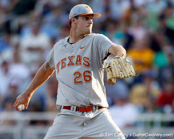 Texas pitcher Taylor Jungmann winds up during the Gators' game against the Texas Longhorns in the College World Series on Saturday, June 18, 2011 at TD Ameritrade Park in Omaha, Neb. / Gator Country photo by Tim Casey