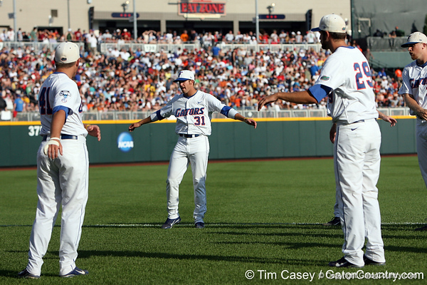 Florida redshirt junior outfielder Paul Wilson stretches during the Gators' game against the Texas Longhorns in the College World Series on Saturday, June 18, 2011 at TD Ameritrade Park in Omaha, Neb. / Gator Country photo by Tim Casey