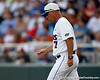 Florida baseball head coach Kevin O'Sullivan walks out of the dugout during the Gators' game against the Texas Longhorns in the College World Series on Saturday, June 18, 2011 at TD Ameritrade Park in Omaha, Neb. / Gator Country photo by Tim Casey