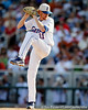 Florida sophomore pitcher Hudson Randall winds up during the Gators' game against the Texas Longhorns in the College World Series on Saturday, June 18, 2011 at TD Ameritrade Park in Omaha, Neb. / Gator Country photo by Tim Casey