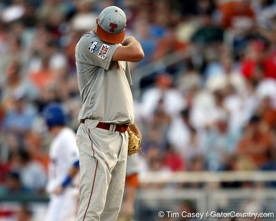 Texas pitcher Taylor Jungmann reacts during the Gators' game against the Texas Longhorns in the College World Series on Saturday, June 18, 2011 at TD Ameritrade Park in Omaha, Neb. / Gator Country photo by Tim Casey