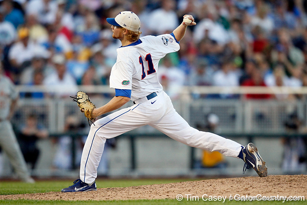 Florida sophomore pitcher Hudson Randall winds up during the Gators' 8-4 win against the Texas Longhorns in the College World Series on Saturday, June 18, 2011 at TD Ameritrade Park in Omaha, Neb. / Gator Country photo by Tim Casey